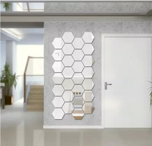 Home Decoration  regular hexagon acrylic Mirror wallpaper Free Shipping you can design freely silver wideth10cm 4pcs per lot(China (Mainland))
