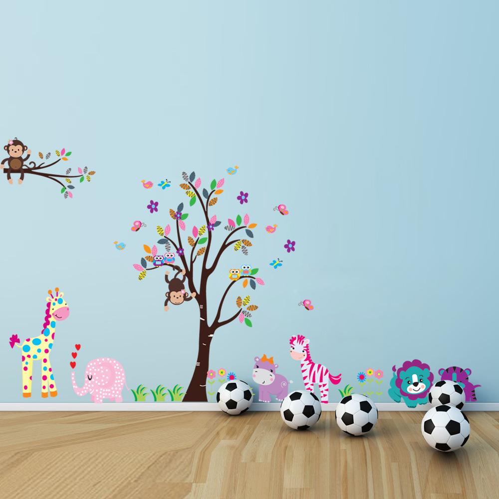 King Size Tree Animal Cartoon Owl Monkey Giraffe Elephant Wall Stickers For Kids Rooms Boys Girls Home Decor Wallpaper For Kids(China (Mainland))