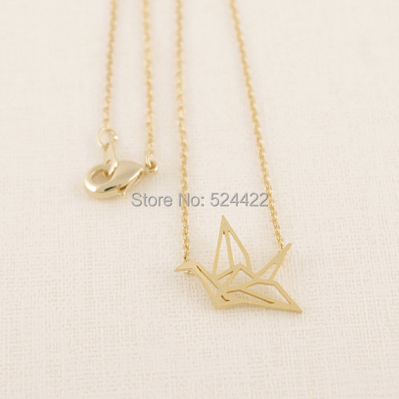 Min 1pc Gold Silver Plated Origami Crane Necklaces for Women Cute Bird Chain Necklaces 2015 Simple Couple Necklaces XL006(China (Mainland))