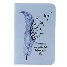 Colorful Designs Goose feather Stand PU Leather Card Slot Cover Wallet Case For Apple iPadMini 4(China (Mainland))