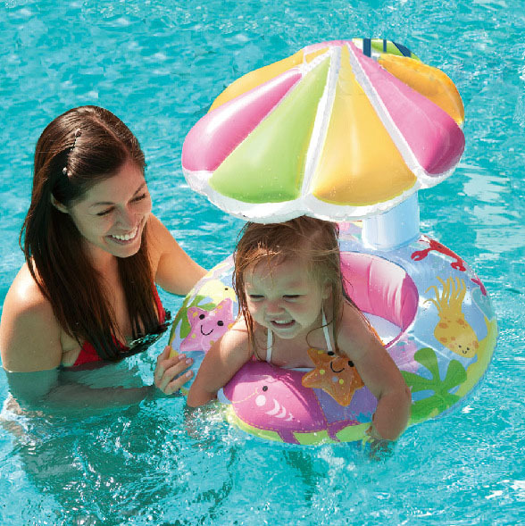 2015 High Quality PVC baby bath seat ring, Inflatable Toddler Baby Swim Ring Float Seat with Canopy Fun Sun Protection Umbrella(China (Mainland))