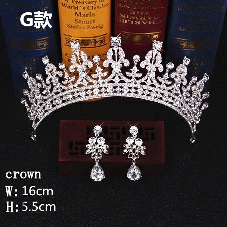 Bridal Hair Accessories Tiara Headdress Headband Hair Clips Women Crystal Pearls Decor Hair Band+earrings Jewelry Wedding (5)