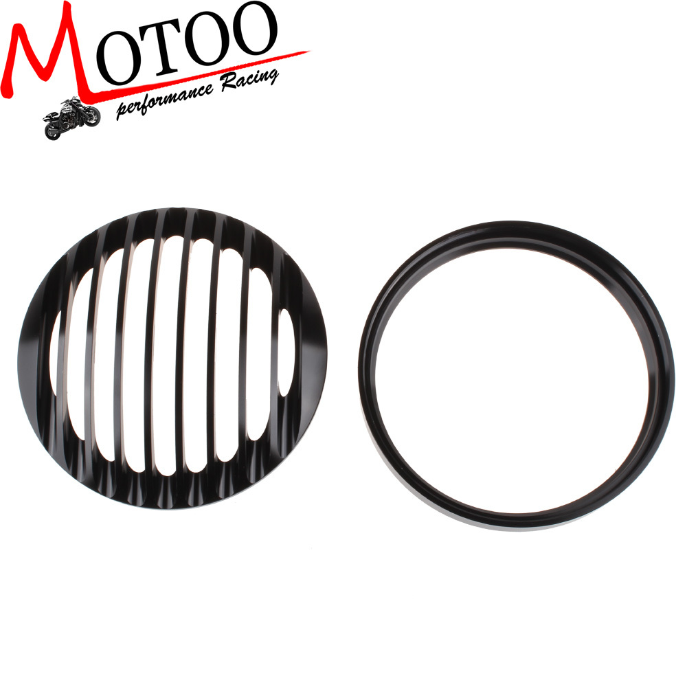 "Motoo - Black 5 3/4"" Aluminum motorcycle Headlight Grill Cover for 2004-2014 Harley Sportster XL 883 1200(China (Mainland))"