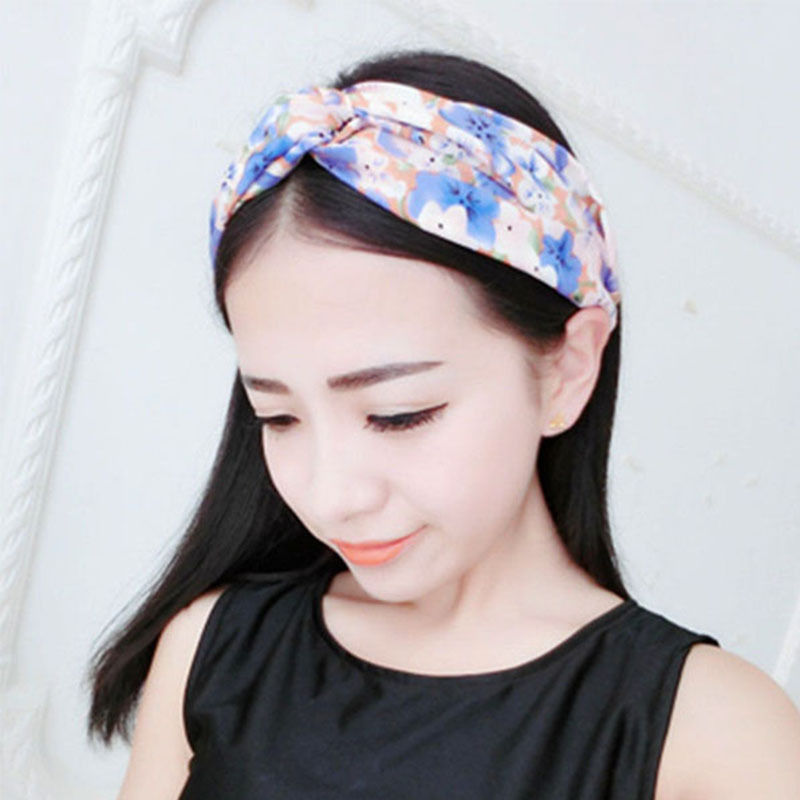 Women Girl Yoga Elastic Turban Hairbands Floral Printed Dotted Stripped Twisted Knotted Hair Band Headband Hair Accessories(China (Mainland))