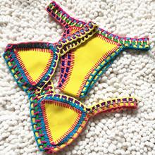 2016 Women Handmade Crochet Neoprene Both Sides Wear Bikini Swimwear Sexy Triangle Patchwork Swimsuit Bathing Suit GI-911(China (Mainland))