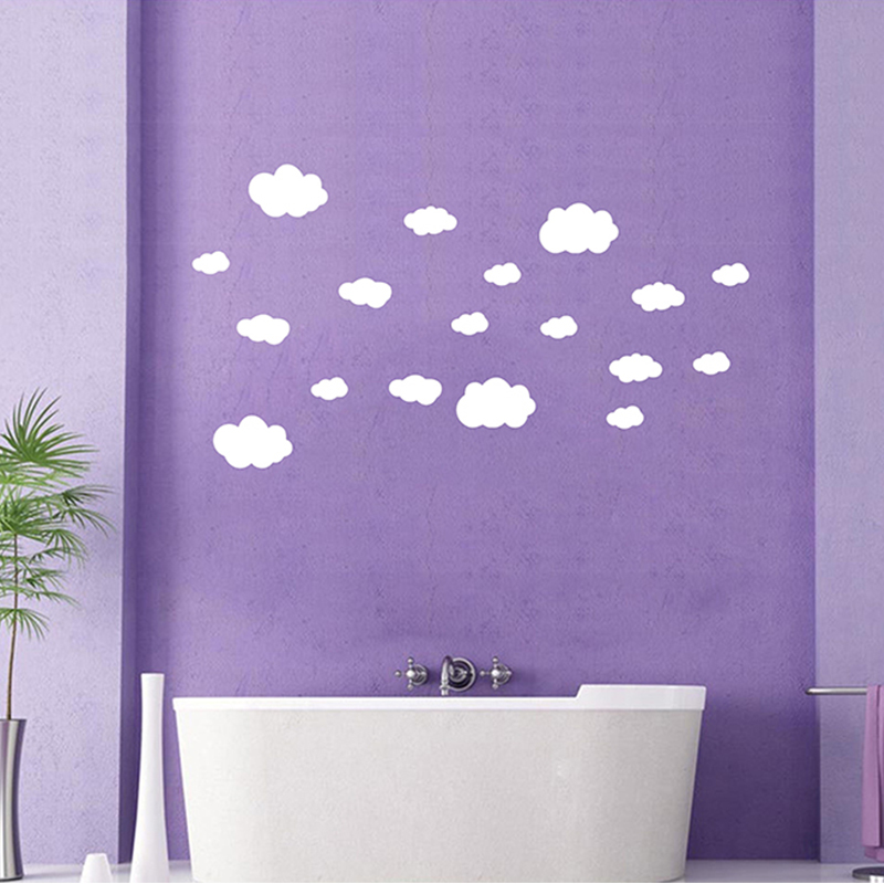 Здесь можно купить  50 pcs/lot Hot Sale 18 Large Clouds Cloud Art Wall Stickers For Kids Room Kitchen Car Window Etc And All The Smooth 9 Colors  Дом и Сад