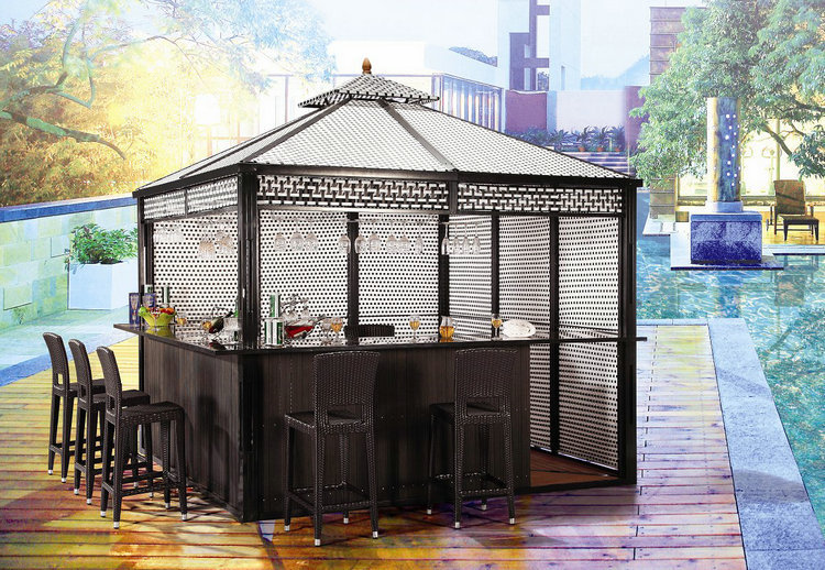 furniture factory direct sale,new design, patent wicker/rattan bar gazebo with wpc floor 300*300cm YG-G711(China (Mainland))