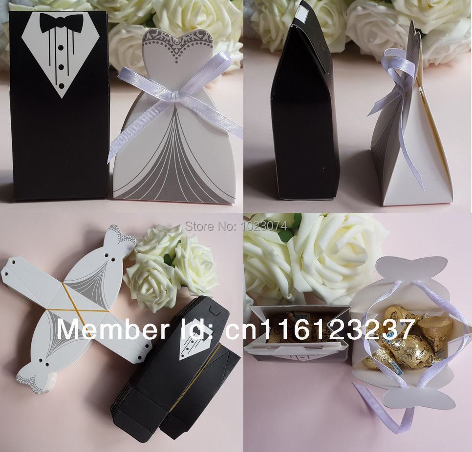 Wedding Party Gifts For Groom : Groom Tuxedo & Bridal Dress + White Satin Ribbon Wedding Party Favors ...