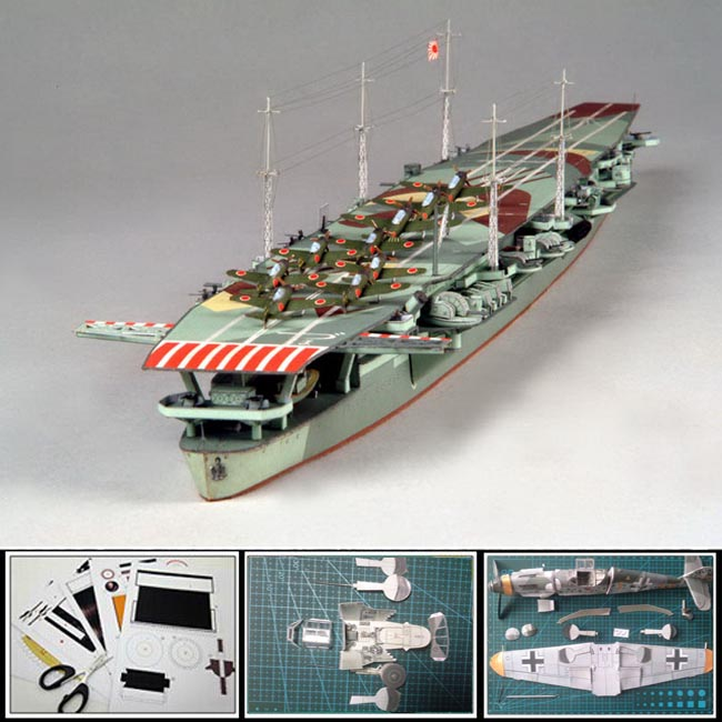 3D Paper battleship Models Japanese aircraft carrier ZUIHO 1:400 scale 50CM long Military weapons Adult 3d puzzles papercraft(China (Mainland))
