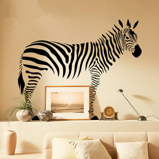 High Quality Large Size Animal Wall Sticker With Removable PVC Sticker For Bedroom Wall Decor Black Zebra Pattern Wall Stickers(China (Mainland))