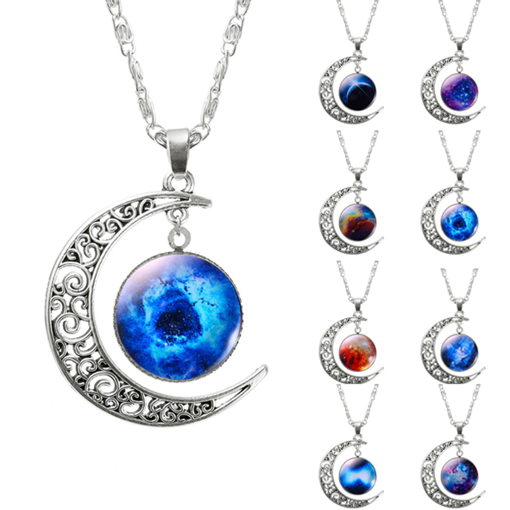 ($ 0.41 1pcs) Brand Fashion Jewelry Choker Necklace Glass Galaxy Lovely Pendant Silver Chain Moon Necklace(China (Mainland))