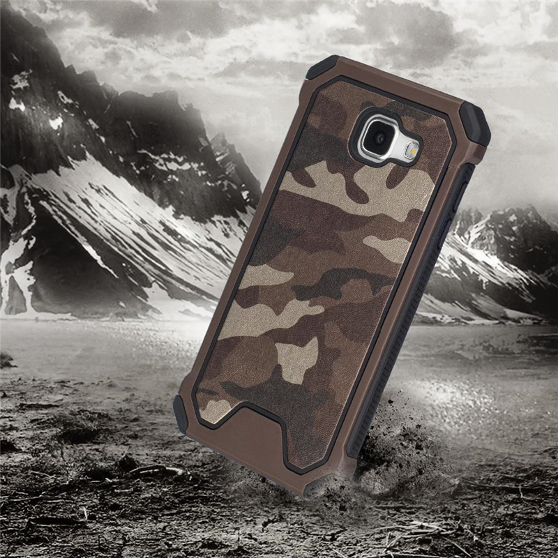Navy Camouflage Hybrid Armor Shockproof Cover Case For Samsung Galaxy 2016 A3 A310 / A5 A510 / A7 A710 Tough Protective Cases