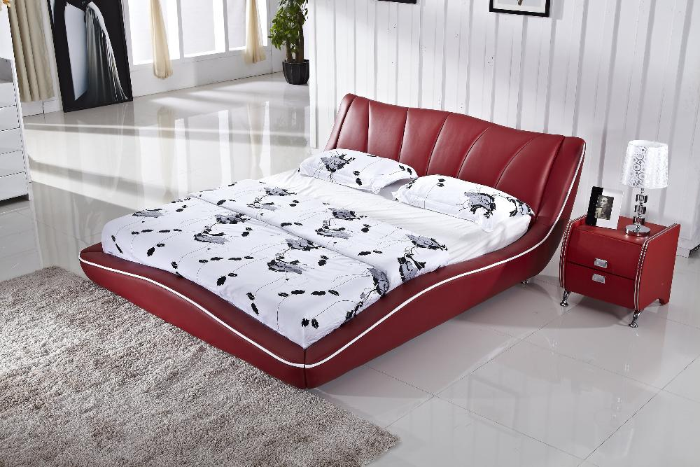 Elegant bed nice design top grain cattle leather hot red for Nice bed designs