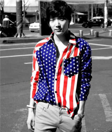 new 2015 fashion Flag casual dress shirts men Stars stripes male long-sleeve shirt vintage british men clothing, plus size,3XL(China (Mainland))
