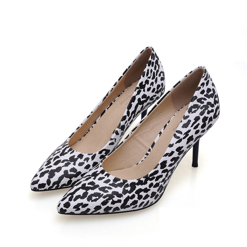 2016 New genuine Leather Pumps Sexy women shoes Leopard Pumps Beautiful Dresses Shoes Brand high Heels Shoes Woman(China (Mainland))