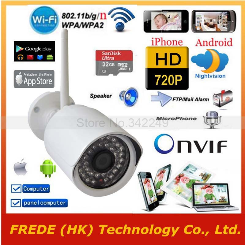 WiFi IP camera Wireless Security network,1280*720P HD,P2P,Outdoor Waterproof Gargen Home,SD Card,3G/4G/5G iphone Andorid,PC IPAD(China (Mainland))
