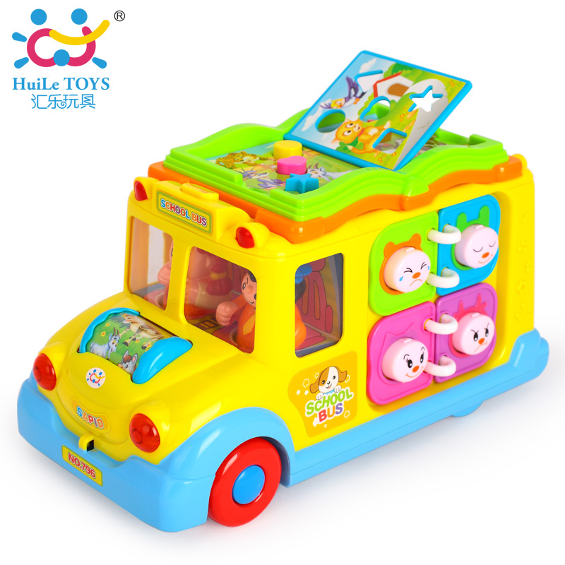 HUILE TOYS 796 Baby Toys Intellectual School Bus Brinquedos Bebe Musical Universal Vehicle Children B/O Electronic Car Toys Gift(China (Mainland))