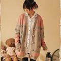 Harajuku Spring Autumn Women s Cartoon Deer Jacquard Cardigan Outerwear Sweater Mori Girl Ruffle Lolita Cute