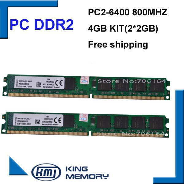 free shipping DDR2 4GB kit(2*DDR2 2GB) 800MHZ PC6400 LONGDIMM 8bits work for all intel and A-M-D motherboard(China (Mainland))