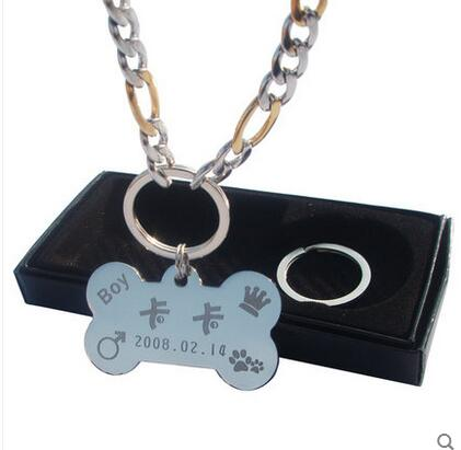 2016 Dog Tag Pet brand pet necklace dog anti lost professional custom lettering color gold necklace free shipping lh1094(China (Mainland))
