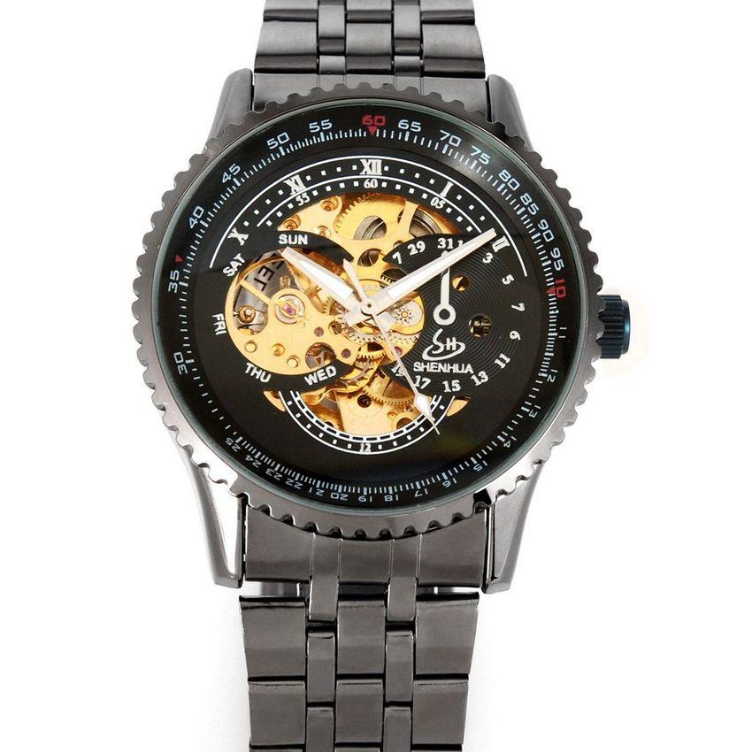 SHENHUA Casual Men Watch Metal Black Stainless Steel Skeleton Dial Mechanical Watch Gift Wristwatch Free Ship(China (Mainland))