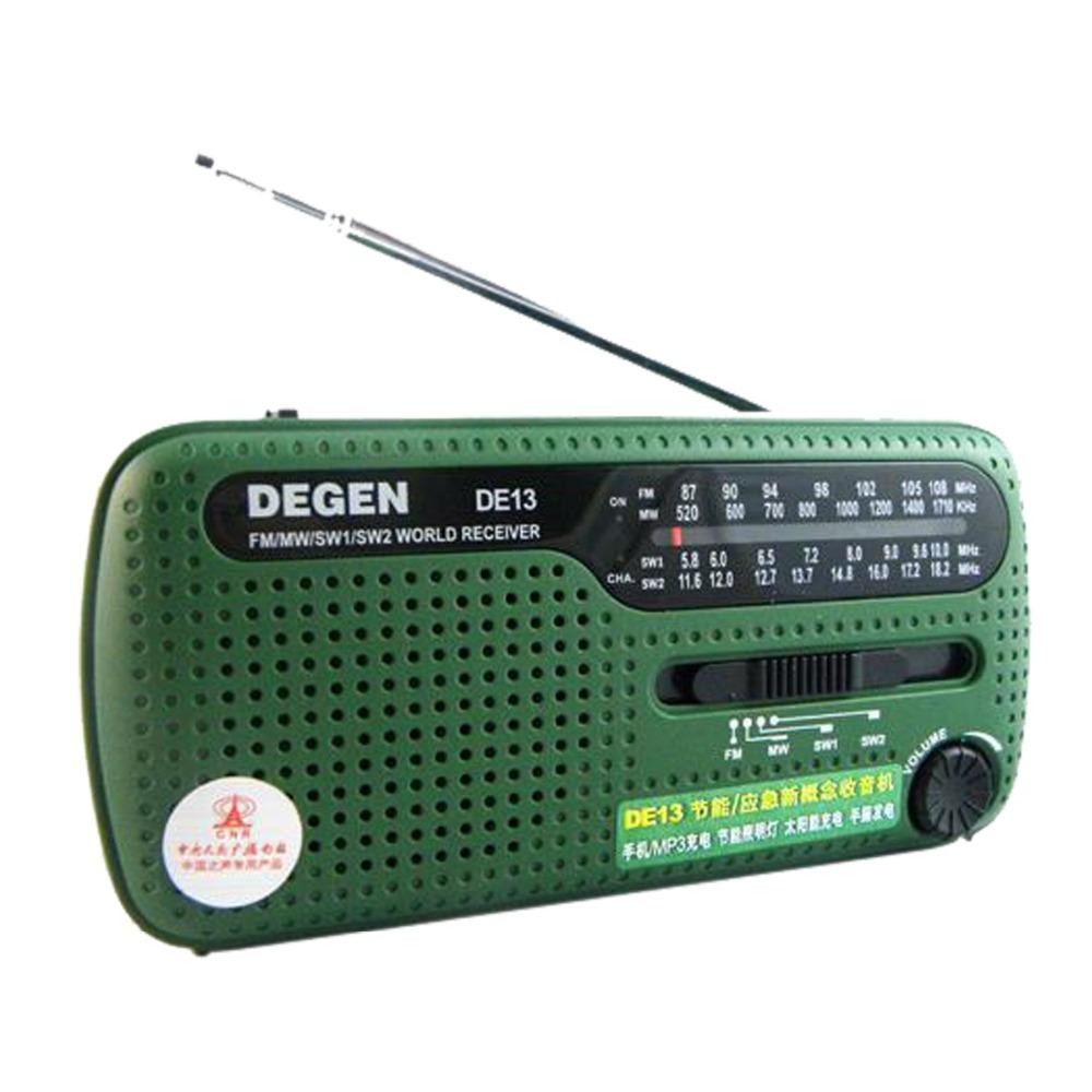 Mini DEGEN DE13 Radio FM MW SW Radio Crank Dynamo Solar Emergency Radio Multiband Radio Receiver Best A0798A(China (Mainland))