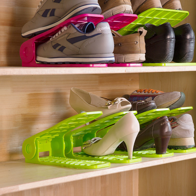1Set Save Space And Adjustable Plastic Shoes Rack Shoes Hanger Storage Organizers Shoes Holder F1961(China (Mainland))