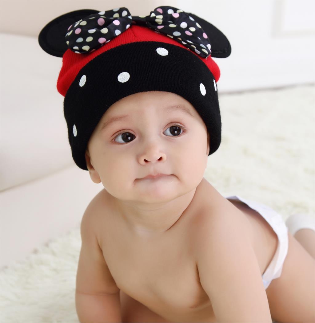 Baby Girls Caps Brand Cartoon Pattern Dot Bow Baby Beanie Hats Caps For Girl Crochet New Fashion Children's Hats 2015 Hot Sale(China (Mainland))