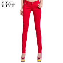 Spring New Autumn Fashion Pencil Jeans Woman Candy Colored Mid Waist Full Length Zipper Slim Fit Skinny Women Pants WKP004(China (Mainland))