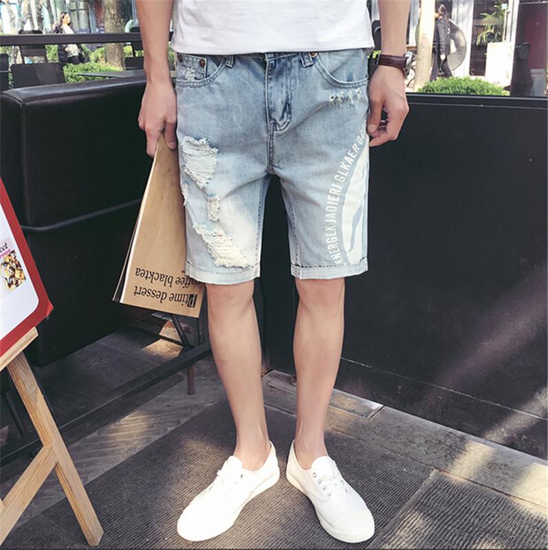 Mens Shorts Cotton Jeans Denim Shorts Men Distressed Jeans Ripped Men Short Jeans Men's Capris 2016 Fashion Size28~34(China (Mainland))