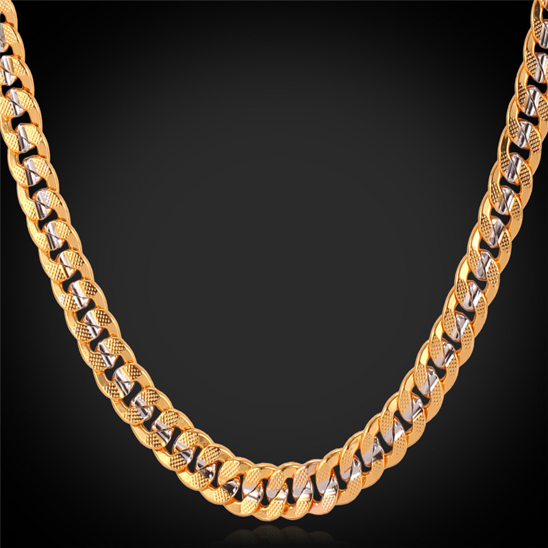 Two Tone Men Gold Necklace with 18K Stamp Real Gold platinum Plated wholesale Curb Chain Necklace