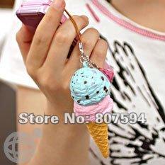 10pcs/lot promotion Kawaii ice cream squishy Mobile phone strap/chain charm/Squishies/Key pendant jewelry lanyard JC7