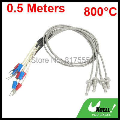 4 Pcs/lot Diameter 6mm x 10mm Thread K Type 800C Thermocouple Temperature Measurement Probe 1.64ft Discount 50 Wire Long(China (Mainland))