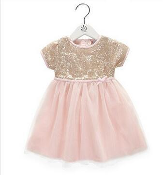 NEW Kids Girls Tulle Lace Party Dresses Girls Summer Sequins Bow Dress Baby Girl Princess TuTu Dress 2016 Babies  Clothing