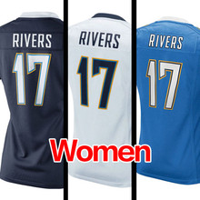 Women's #17 philip rivers Light Navy Blue White Game 100% Stitched Logos Free shipping(China (Mainland))