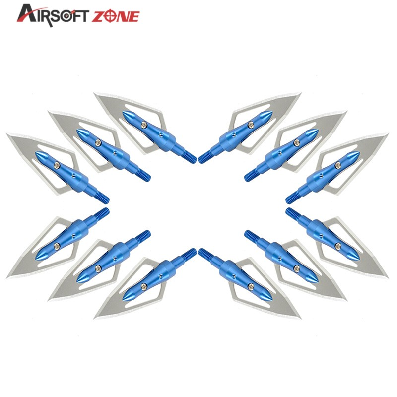 12PCS lot Blue Replaceable Arrowhead Broadhead Flechas Carbono Recurve Bows Arrows Archery Arrows for Compound Recurve