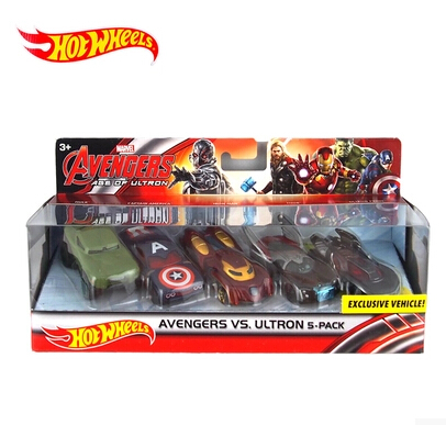 free shipping Hot Wheels Avengers 2 Role trolley Alloy car 1:64 CFC93 5 Packed Limited Collector Thor Captain America Hulk Toy(China (Mainland))