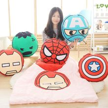 Creative 3D Print Pillow Anime Superman Spiderman Batman Cushion Car Office Airconditional 2 In 1 Pillow Quilt Home Decoration(China (Mainland))