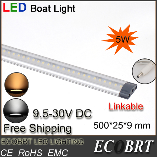 2015 Hot Sale New Arrival 10pcs/lot 500mm Long 9.5-30v Battery Led Tube Marine Boat Strip Lights Linkable for Wine Cabine Bar(China (Mainland))