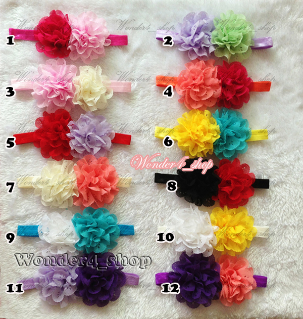 Free Shipping 100pcs Wholesale Baby Girl Infant Hair double eyelet Chiffon lace Flower with shimmer Headband 12 mix color<br><br>Aliexpress