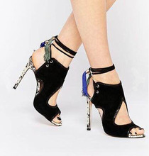 new 2016 women tassel Mixed colors high heel sandale woman ankle strap female summer shoes brand same design big size 40(China (Mainland))