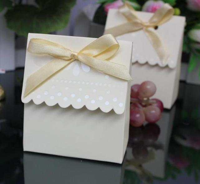 Wedding favor boxes gift paper bags candy boxes milk Wedding candy box wit  ribbon 100 PCS/lot free shipping