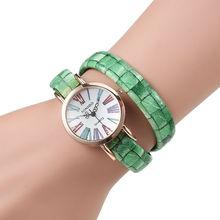 Moda Relogio ginebra del reloj hora completa acero mujer relojes Ladies relojes de cuarzo analógico de pulsera correa de cuero larga del Relogio feminino