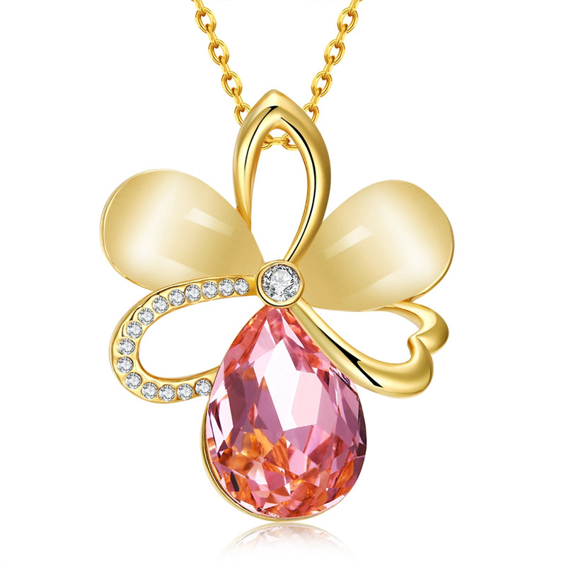 Vintage Accessories Hollow Flower Design 18K Gold Plated Fashion Jewelry Opal&Rhinestone Pendant Necklace For Women QA0059(China (Mainland))