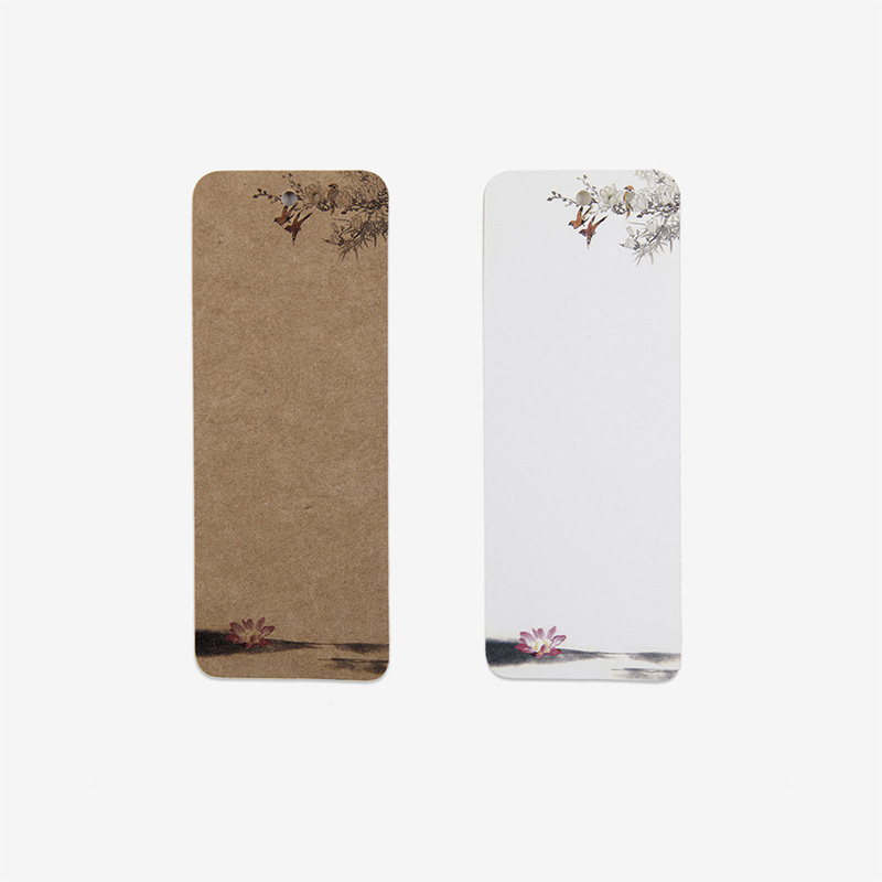 24/PCS Kraft Paper White Card Bookmarks Books Mark Personalized Card Design Flower Printed Hang Tags Best Prices Free Shipping(China (Mainland))
