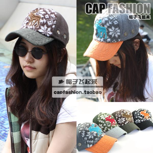 Onta plush color block woolen baseball cap lovers cap autumn and winter
