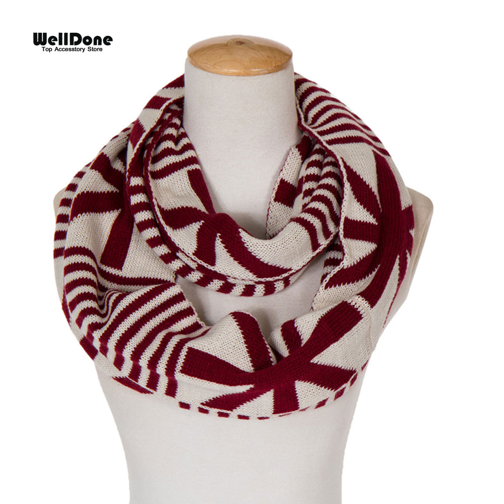 Scarfs 2015 Union Jack Knitted Infinity Loop Scarves For Women Winter Thicken Neckerchief Circle Ring Scarf Fulares Mujer 2595(China (Mainland))