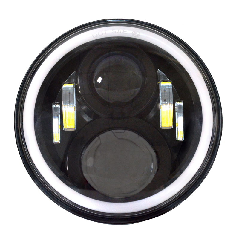 2x H4 Socket Hi-Lo 7 Inch LED Headlight for Jeep Wrangler JK TJ LJ Land Rover Defender Round LED Headlights Dual Beam Fog Lights(China (Mainland))