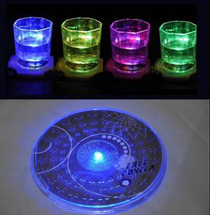 New 2016 Colorful Changing LED Light Glass Bottle Cup Coaster Mat Bar Party Xmas Gifts For Sale 1PC Hot Sale(China (Mainland))