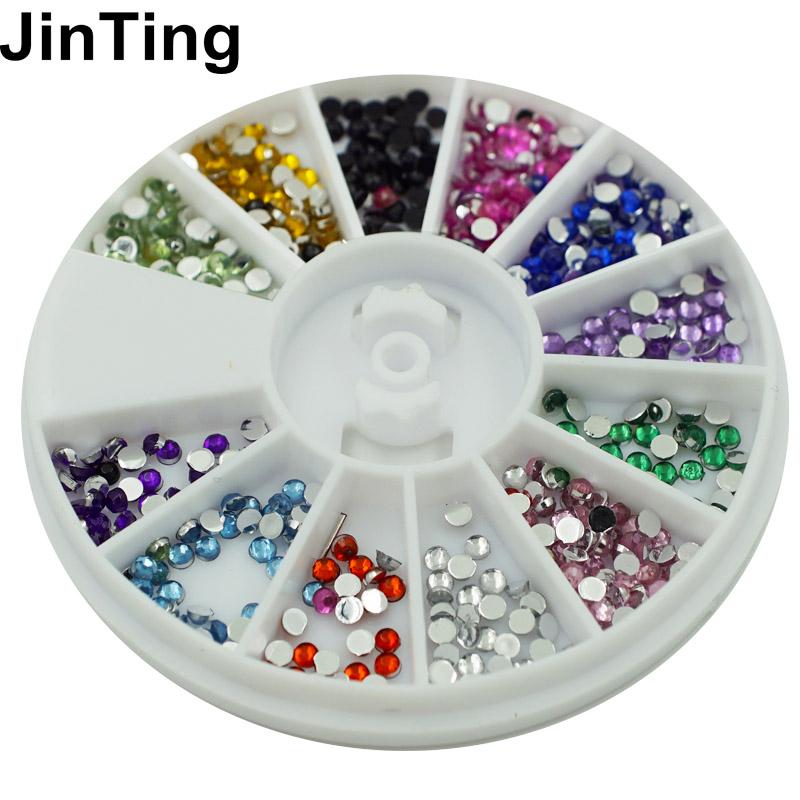 Nail Art Rhinestones decoration 3D Wheel 12 Mix Color Glitter Gems Design stone Round Bling Crystal sticker Nail tools